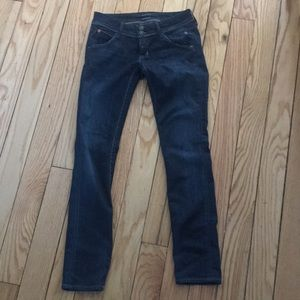 Hudson Jeans low-rise straight skinny leg jean.